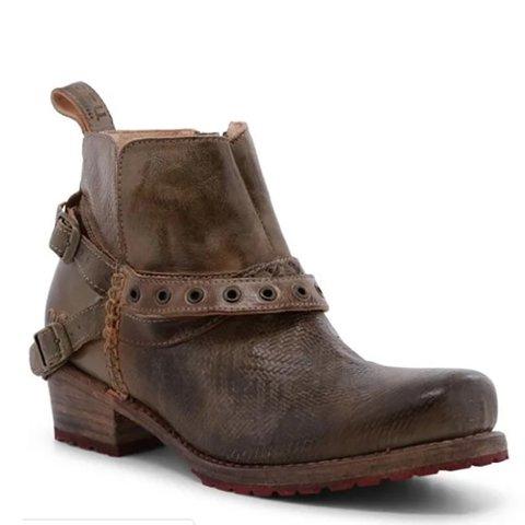 Brown Casual Winter Buckle Pu Low Heel Boots