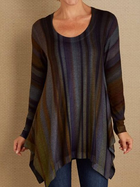 Multicolor Asymmetrical Long Sleeve Round Neck Shirts & Tops