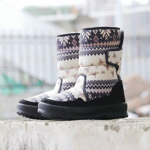 Black Winter Flat Heel Cloth Flower Daily Boots