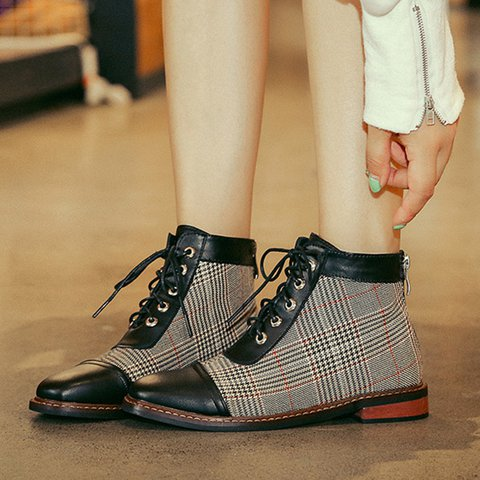 Women Round Toe Combat Boots Chunky Heel Lace-Up Fall Shoes