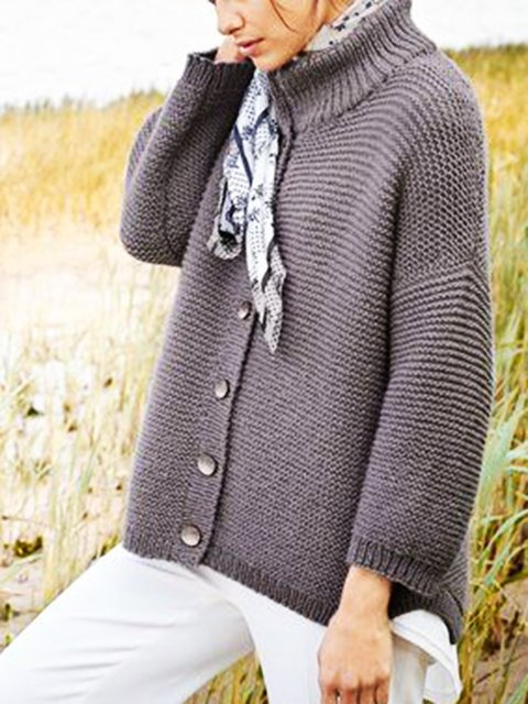 Gray Buttoned Cotton-Blend Casual Outerwear