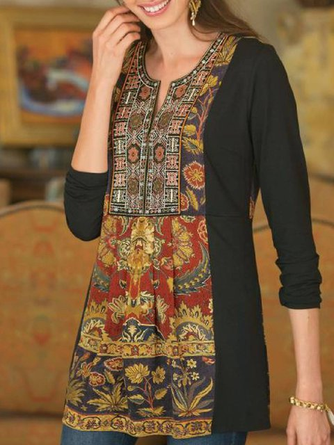 Black Cotton-Blend Long Sleeve Printed Round Neck Shirts & Tops