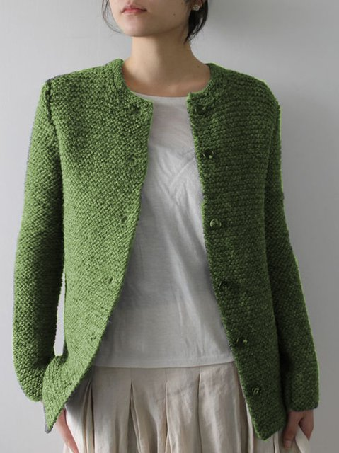 Casual Green Knitted Sweater
