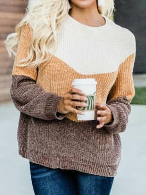 Plus Size Long Sleeve Crew Neck Printed Striped Casual Sweater