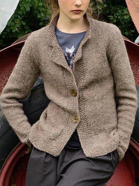 Plain Vintage Casual Outerwear