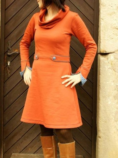 Long Sleeve Cotton-Blend Plain Dresses
