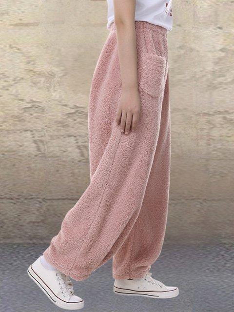 Fleece Casual Elastic Waist Wide Leg Plus Size Pants