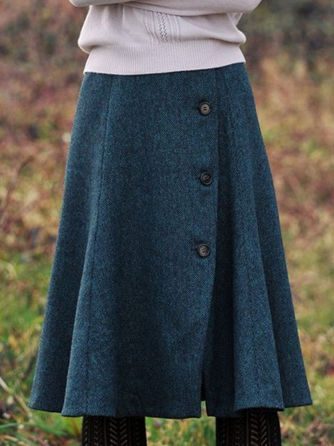 Plain Vintage Buttoned SKirts