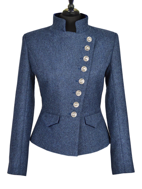Blue Wool Blend Stand Collar Paneled Casual Outerwear