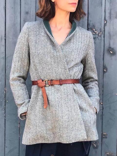 Gray Plain Long Sleeve Outerwear