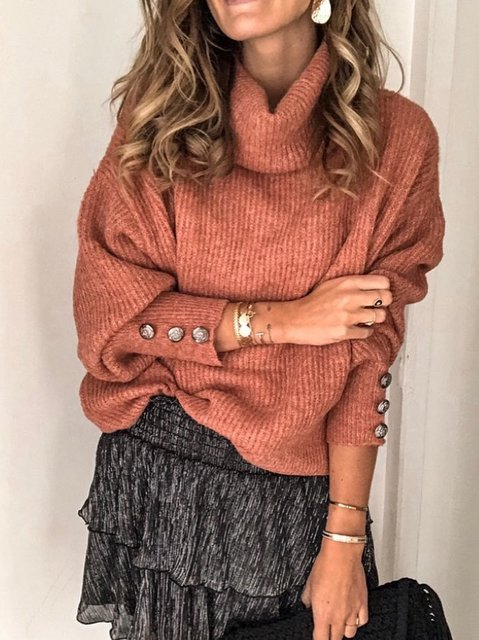 Solid Cotton-Blend Long Sleeve Turtleneck Sweater