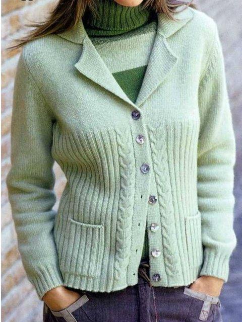 Solid Pockets Knit Cardigan Plus Size Shawl Collar Outerwear