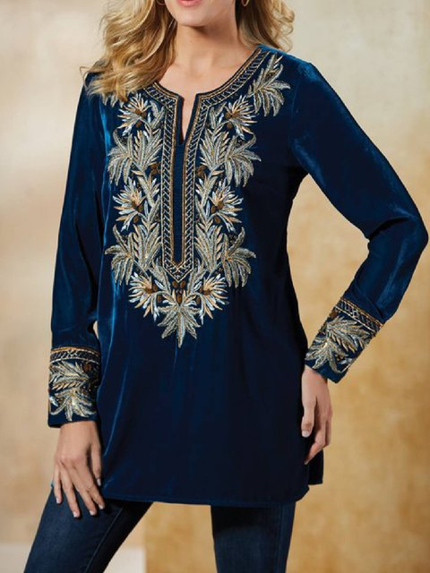 Blue Printed Long Sleeve Round Neck Shirts & Tops