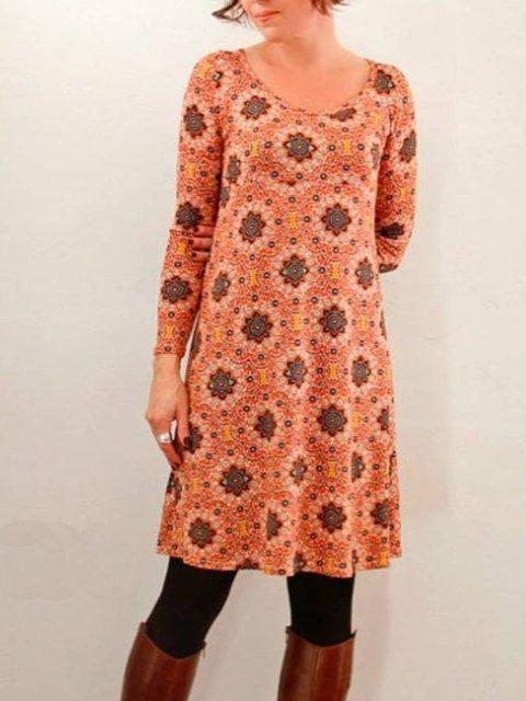 Orange Casual Crew Neck Floral-Print Long Sleeve Dresses