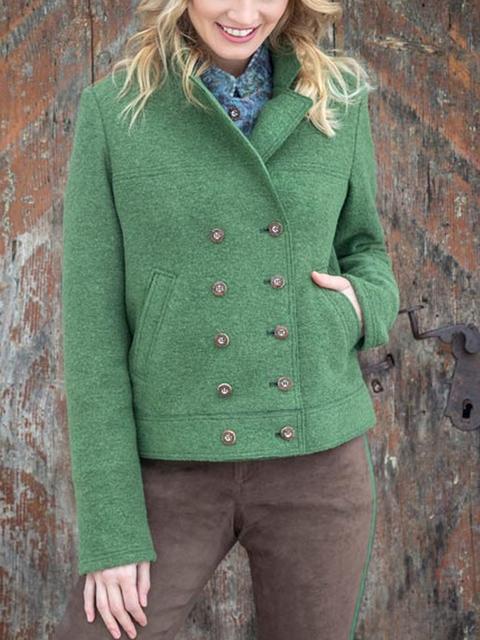 Lightgreen Plain Long Sleeve Paneled Outerwear