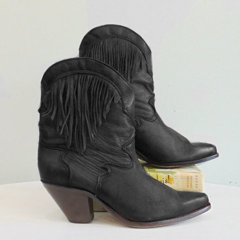 Vintage Fall Chunky Heel Tassel Daily Boots
