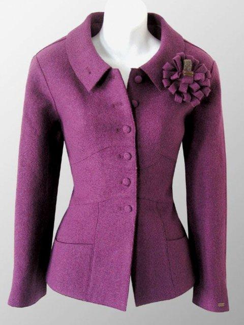 Flower Shawl Collar Vintage Outerwear
