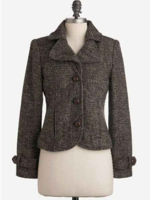 Wool Blend Faux Leather Vintage Outerwear