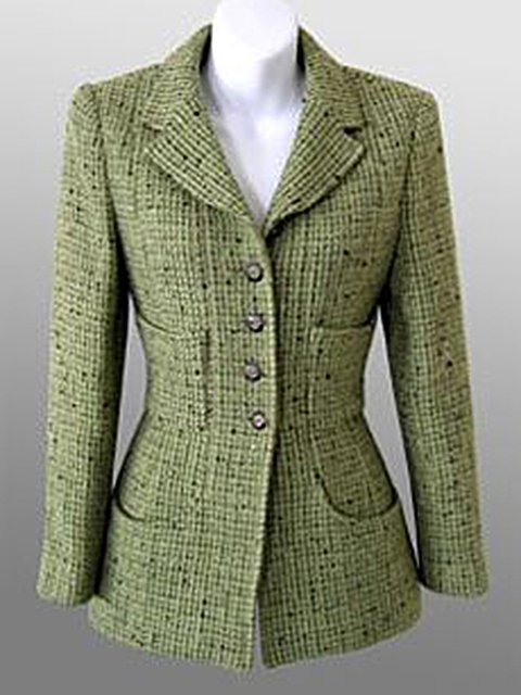 Green Long Sleeve Tweed Buttoned Outerwear