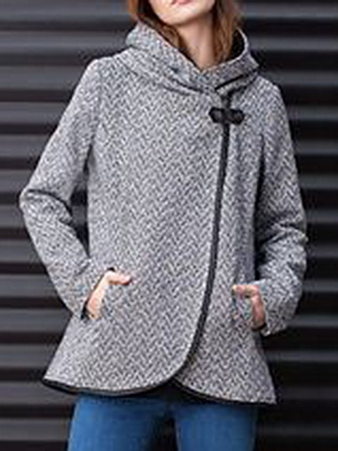 Gray Long Sleeve Tweed Pockets Outerwear