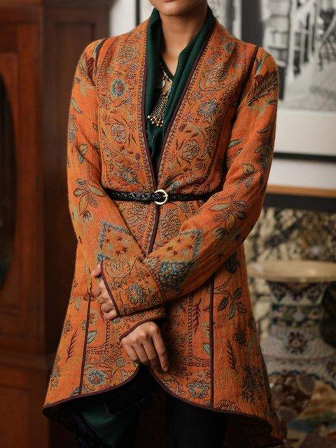 Orange Paneled V Neck Cotton-Blend Long Sleeve Outerwear