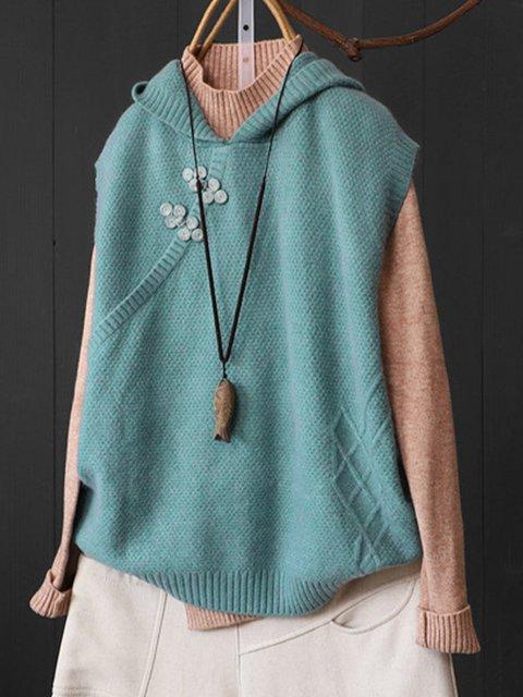 Paneled Long Sleeve Hoodie Casual Vests