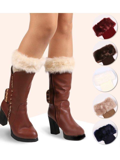 Fashion Solid Color Faux Fur Spliced Knit Leg Warmer