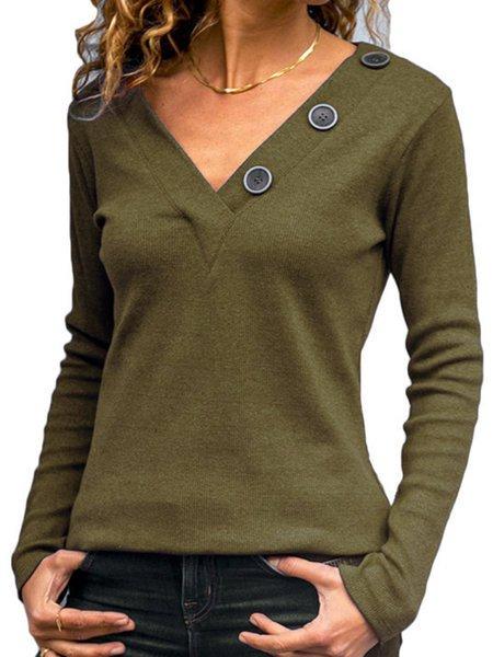 Vintage Buttoned V Neck Solid T-Shirts