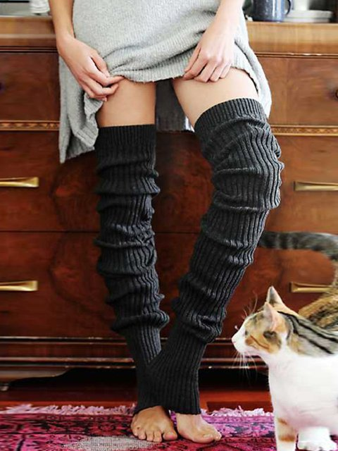 Casual Warm Plain Knee-Socks