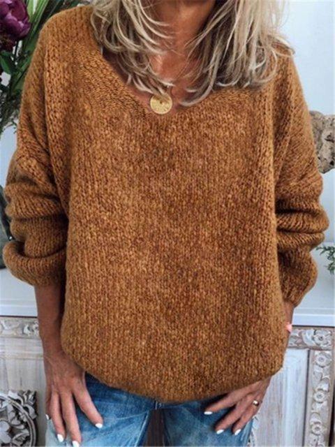 Khaki V Neck Long Sleeve Cotton-Blend Outerwear