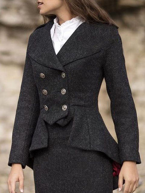 Long Sleeve Wool Blend Outerwear