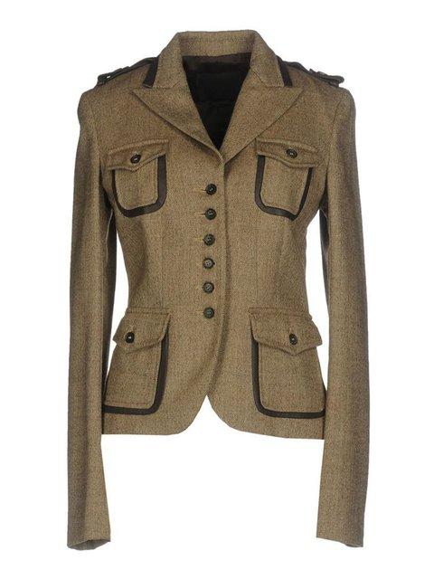 Women Pockets Buttoned Lapel Vintage Blazers