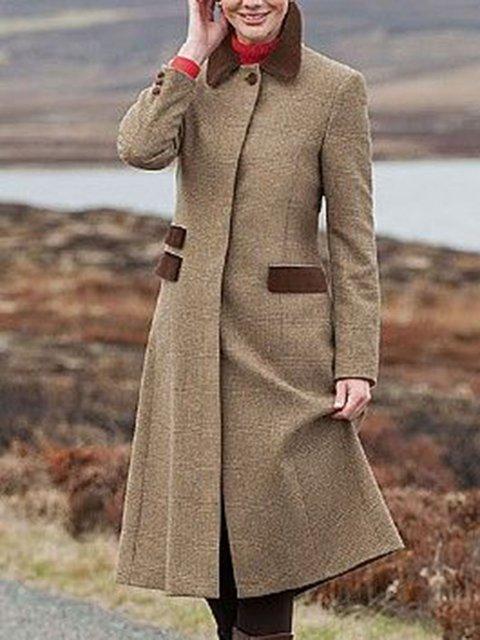Women Buttoned A-Line Vintage Winter Coats
