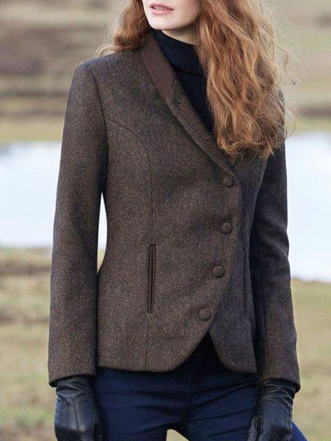 Women Lapel Buttoned Wool Blend Vintage Blazers