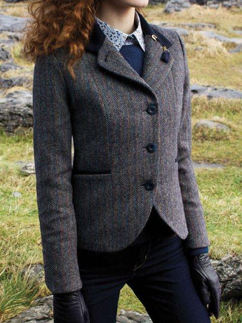 Women Wool Blend Lapel Pockets Vintage Blazers