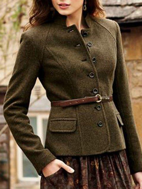 Women Lapel Buttoned Wool-blend Vintage Blazers