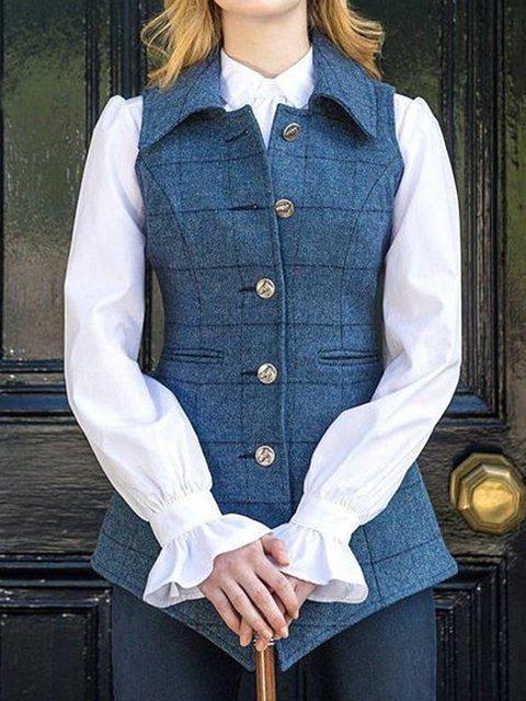Women Plaids Buttoned Vintage Vest Jackets