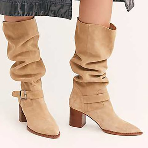 Faux Suede Casual High Heel Fall Mid-Calf Boots