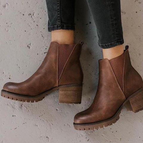 Fall Elastic Band Chunky Heel Pu Boots