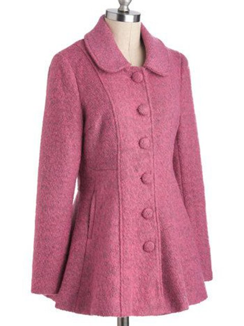 Pink Tweed Pockets Vintage Outerwear