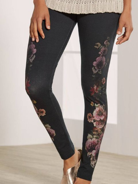 Deep Gray Printed Cotton-Blend Casual Pants