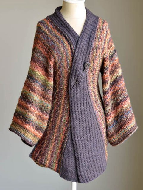 Vintage Sweater Cardigan Plus Size Knitted Coat