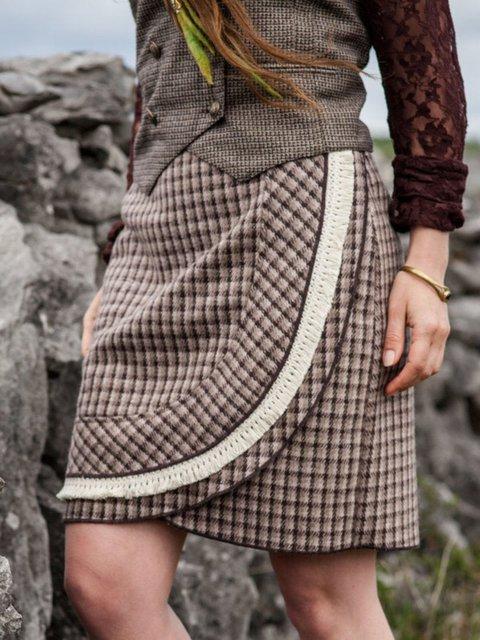 Khaki Casual Paneled Skirts