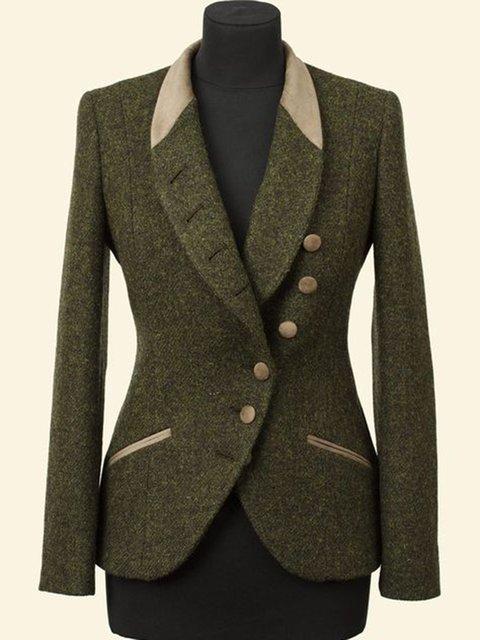 Deep Green Vintage Buttoned Outerwear