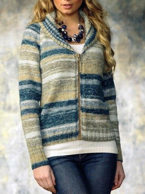 Multicolor Long Sleeve Cotton-Blend Stripes Zipper Outerwear