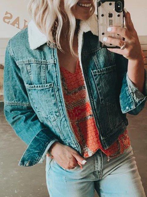 Blue Denim Short Sleeve Plain Outerwear