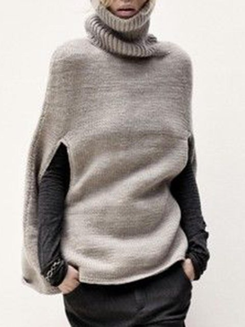 Gray Cotton-Blend Casual Turtleneck Shirts & Tops