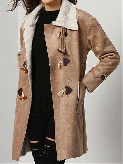 Autumn Winter Casual Basic Daily Faux Suede Faux Fur Coat