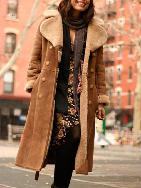Brown Faux Suede Casual Outerwear
