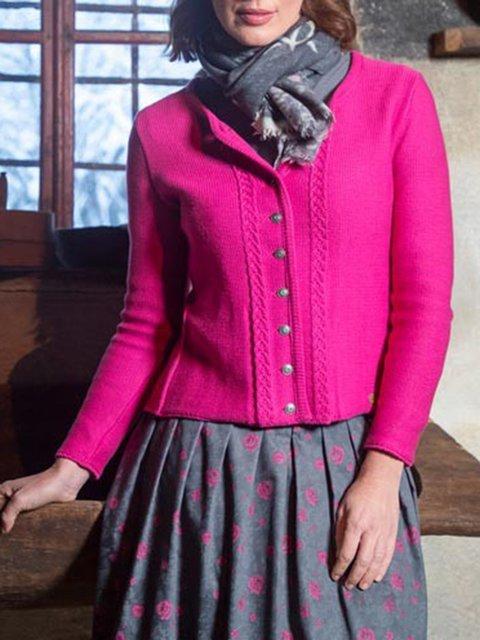 Pink Long Sleeve Wool Blend Outerwear
